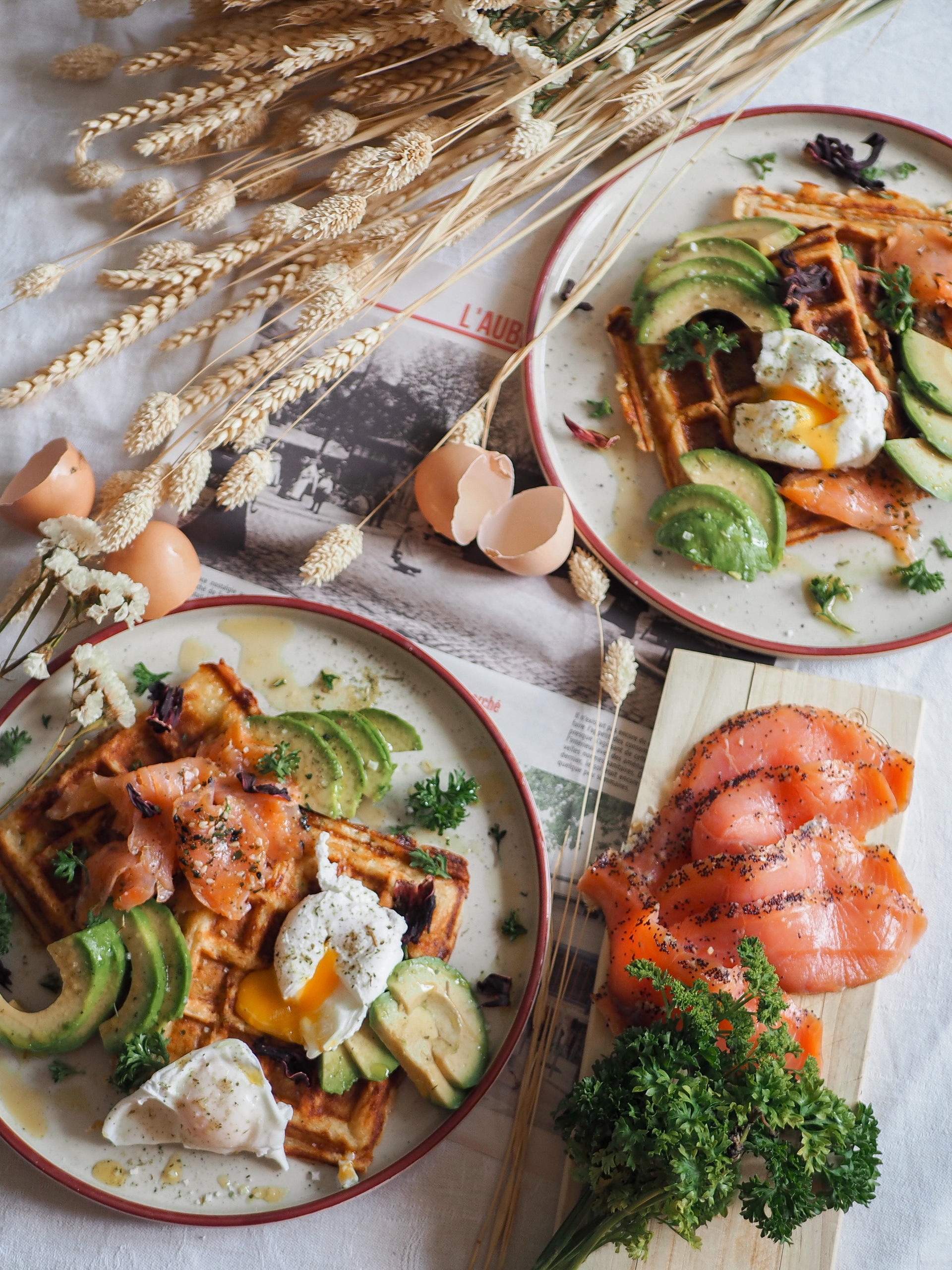 Recette gaufre salée saumon fumé, courgette et emmental pour brunch